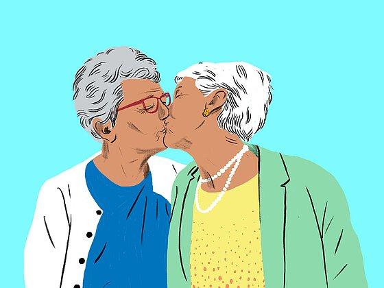Älterer Jüngerer Lesbischer Amateur